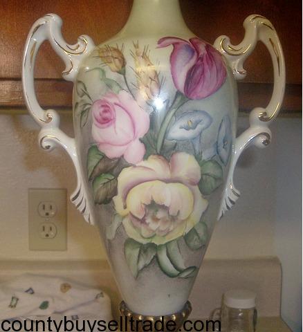 Antique Limoges Porcelain Lamp Vase Artist Signed Hand Painted